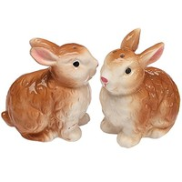 Burton and Burton Hand Painted Ceramic Brown Bunny Easter Salt and Pepper Shakers