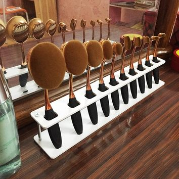 Oval Makeup Brushes Acrylic Display Holder Stand Storage Organizer Brush Showing Acrylic Rack Only - No Brushes