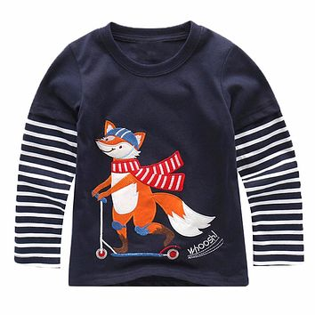Baby Boy Sweatshirt with Animal Applique Children Autumn Long Sleeve Tops Boys Clothes Striped Kids T shirts for Boy