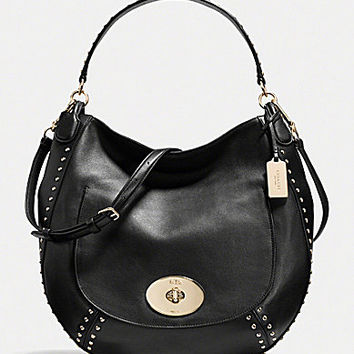 COACH CIRCLE HOBO IN STUDDED CALF LEATHER | Dillards.com