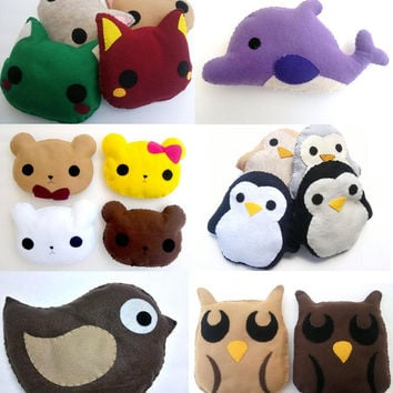 Holiday Sale! (2) Cute Handmade and Handsewn Felt Kawaii Plush Animal, Animal Pillow or Gift. Original Design (Available til January 10th!)