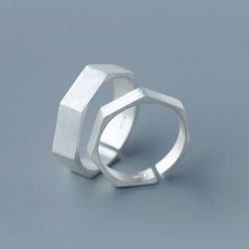 Fashion and personality Polygon ring  ï¼?25 Sterling Silver ring