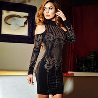Hot New Year Fashion 2017 Women Cut Out Beaded Velvet Black Bodycon Dresses for Party Long Sleeve