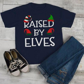 Kids Elf Outfit Christmas Shirt Elf Shirts Raised By Elves Graphic Tee Funny Elf Tshirt Elves T Shirt Toddler Boy's Girl's