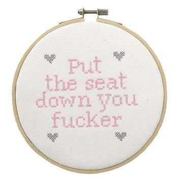 Put The Seat Down Cross Stitch Bathroom Decor