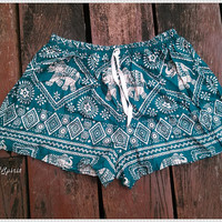 Green Elephant Shorts Beach Hippie For Summer Hipster Exotic Print Boho Hobo Clothing Aztec Ethnic Bohemian Ikat Boxes Sleepwear Tank Pants