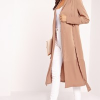 Missguided - Petite Two Tone Satin Duster Jacket Camel
