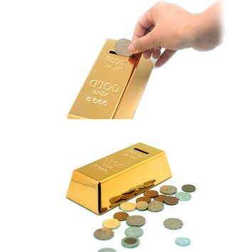 High Quality  Gold Bullion Bar Piggy Bank Brick Coin Bank Saving Money Box V1NF