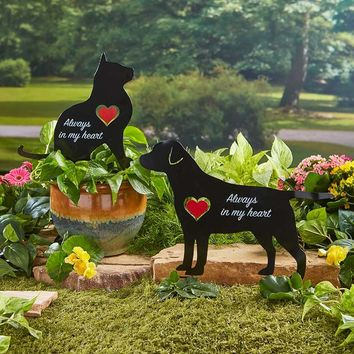 """Pet Memorial Spinner Silhouette """"Always in my Heart"""" Red Heart Cut Out Spins"""