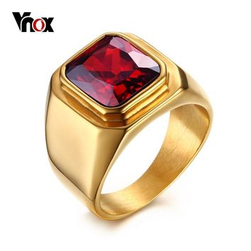 Vnox Casual Men Ring Red CZ Stone Square Top Stainless Steel Gold Color Daily Male Alliance Jewelry Size
