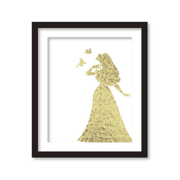 Nursery art - Gold Silhouette of disney princess - faux gold leaf - print artwork.