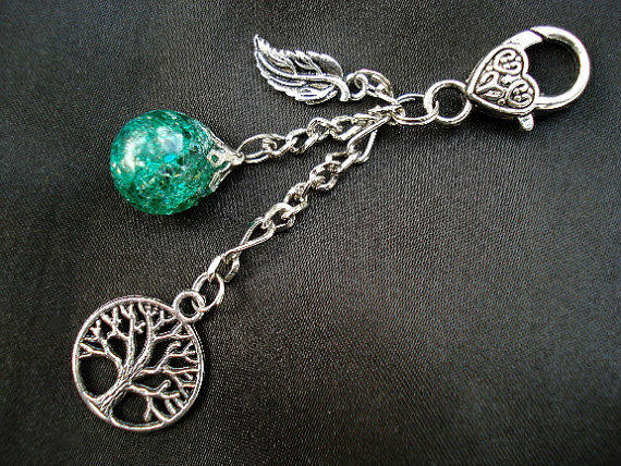 Tree of Life Green Crackle Glass Marble Leaf Boho Hipster Keychain