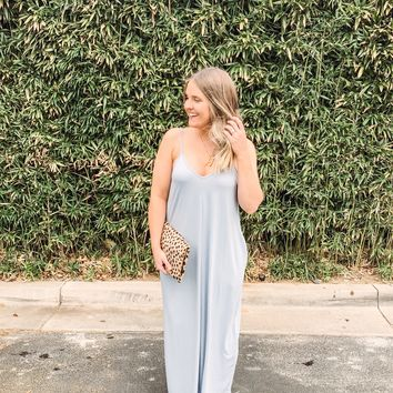 Savannah Cami Strap Maxi Dress - Blue Grey