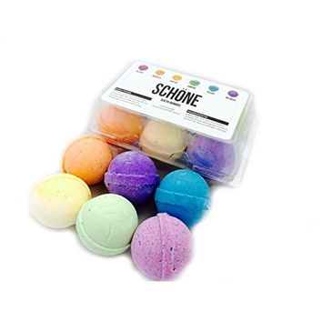 Bath Bomb Gift Set - USA Made with Organic & Natural Ingredients - Surprise Your Mom, Wife or Girlfriend with 6 Large Relaxing Epsom Salt Soak Balls in a Fizzy Pack Assortment with Lush Essential Oils