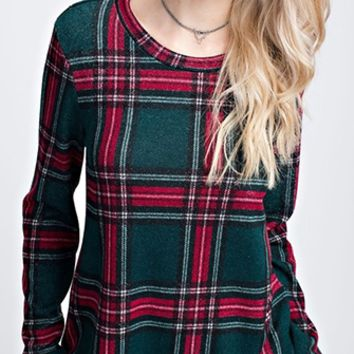 Check Mate Plaid Long Sleeve Scoop Neck Tunic Top - 2 Colors Available