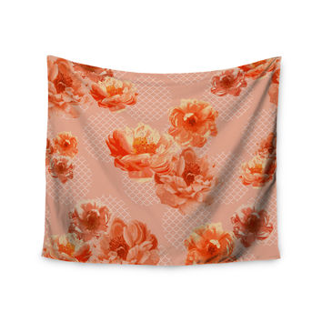 "Pellerina Design ""Lace Peony"" Orange Floral Wall Tapestry"