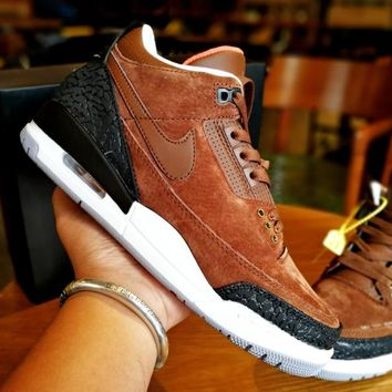 [Free Shipping ]Air Jordan 3 Brown Basketball Shoes