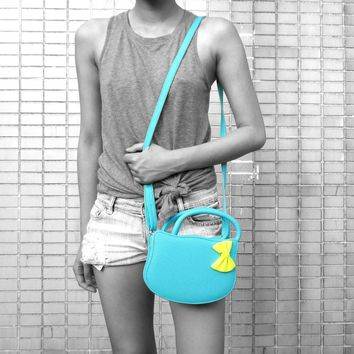 Cat Silhouette Shaped Hello Kitty Cross body Shoulder Bag for Women in Mint Blue
