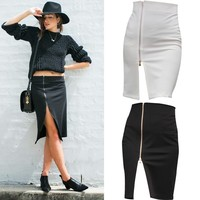 Uwback New Brand Summer Skirt Women Plus Size Wrap Pencil Sexy White Office Midi Women Skirt White Work Skirts 4XL TB489