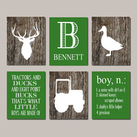 Baby Boy Nursery Decor Deer Antler Rustic Nursery Country Nursery Quote Set of 6 Prints Tractor Duck Camo Nursery Camouflage Bedroom