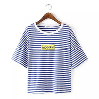 "Stripe ""MODERN"" Printe Short-Sleeve Shirt"