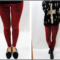 Sandysshop — Burgundy Velvet Leggings ON SALE