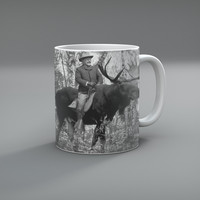 Teddy Roosevelt Riding A Bull Moose Mug