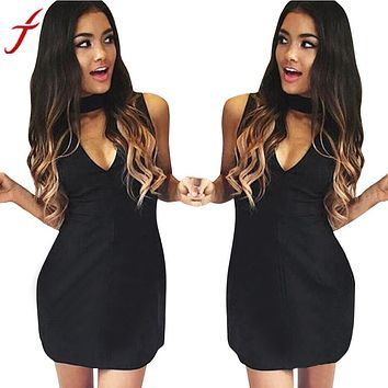 Black Halter V-Neck Sexy Sleeveless Slim Party straight Mini Dress