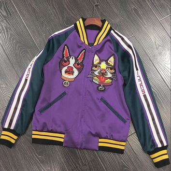 Gucci Popular Unisex Casual Embroidery Dog Contrast Color Thin Silks And Satins Surface Long Sleeve Zipper Short Couple Coat Jacket Baseball Uniform Purple