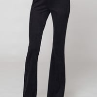 Faux suede bell bottom pull on pants