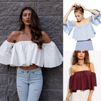 New Women Ladies Clothing Tops Short sleeve tops Blouses Off shoulder shirts Crop Top Cropped Clothes Women Summer