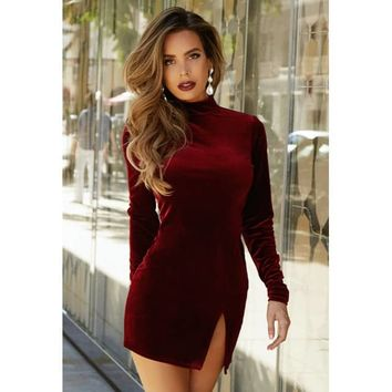 Old Hollywood Velvet Slit Turtleneck Dress - JLUX Label