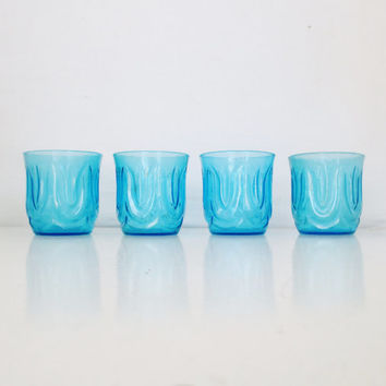 Vintage Juice Glasses Set of 4 Anchor Hocking Sky Blue Colonial Tulip Glasses Short Tumblers 8 oz Glasses Blue Glass Cups Lowball Glasses