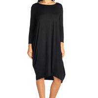 82 Days Women'S Rayon Span Long Sleeves Loose Fit Jersey Midi Dress - Solid