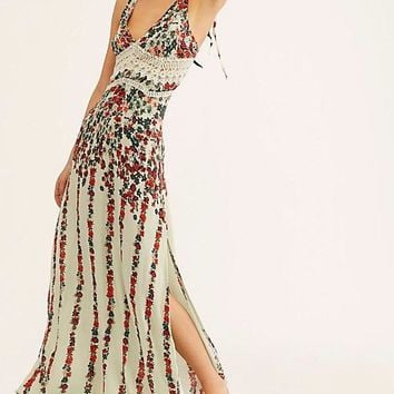 Free People Claire Black Floral Print Tie-Strap Maxi Slip Dress in Blue Mojito Combo