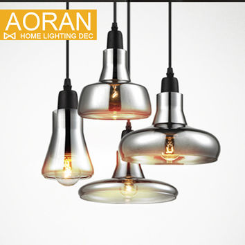 vintage glass pendant light grey color clear color amber color pendant lamps with bulbs 110V 220V led pendant lights