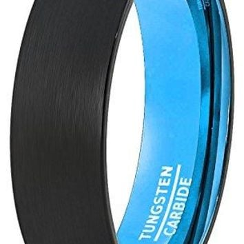 6mm Mens Wedding Band Black Brushed Inside Aqua Teal Blue Dome Comfort Fit