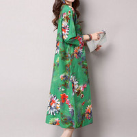 Floral Print Loose Sleeve Shift Maxi Dress