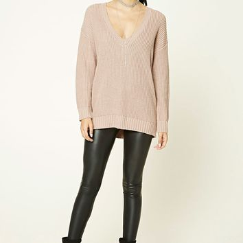 Longline V-Neck Sweater