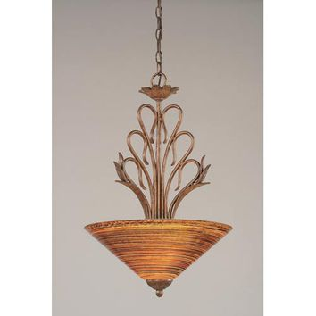 Toltec Lighting 204-BRZ-414 Swan Bronze Three-Light Bowl Pendant with Firre Saturn Glass Shade