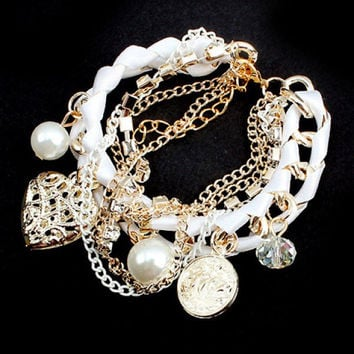 Fashion Faux Pearl and Openwork Heart Pendant Ribbon Embellished Women's Multi-Layered Alloy Bracelet