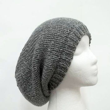 Knitted slouchy beanie hat gray white tweed large size  5241
