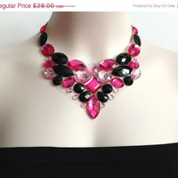 ON SALE pink bib necklace - pink, fucshia and black rhinestone bib necklace, bridesmaids, prom statement necklace