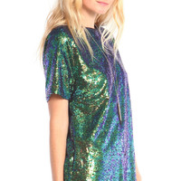 SPARKLY IRIDESCENT SEQUIN SHORT SLEEVE TUNIC DRESS