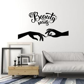 Vinyl Wall Decal Lettering Beauty Of Your Nails Salon Manicure Female Hand Stickers Mural (g1636)