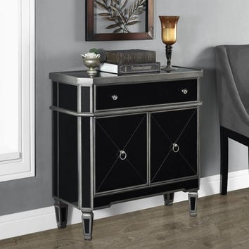 "Brushed Charcoal Grey / Black Mirrored 32""L Accent Table"