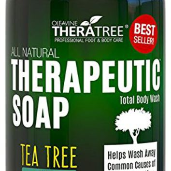Antifungal Soap with Tea Tree Oil & Neem 12oz. Helps Wash Away Athletes Foot, Body Odor, Acne, Jock Itch, Nail Fungus, Ringworm. Foot & Body Wash. 100% Natural Care & Defense Against Skin Irritation