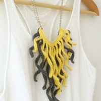 Crochet Fringe Necklace. Grey And Pale Yellow Cotton Tassel | Luulla