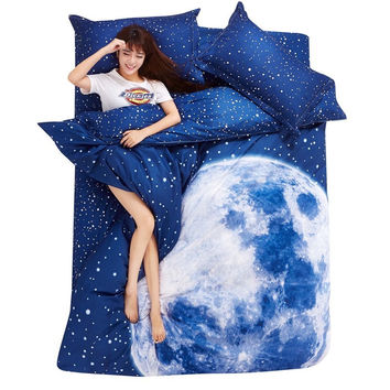 Thicken sanding space bedding set full/queen/King size bed set with bed sheet ,pillow shams Moon Star Galaxy home textile