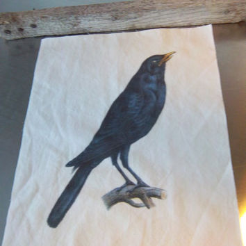 Cotton quilt block primitive crow blackbird raven quilt square fabric panel art journal sewing gift bird nature art decoration home decor